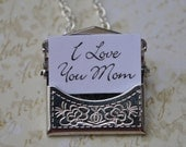 Mom Envelope Necklace secret message Personalized silver I Love You Mom Perfect Gift