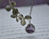 Bridesmaid Purple amethyst Necklaces set of three 3 lavender Lariat Orchid Briolette Framed Glass