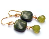 Green Jade Earrings Gemstone, perfect gift for brithday, mom, bridesmaid gifts