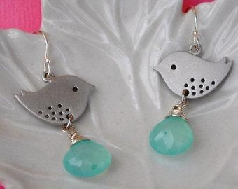 Bird Aqua Earrings gemstone sparrow wire wrapped in sterling silver