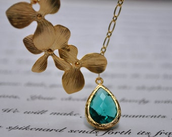 Orchid Lariat Necklace ocean sea blue orchid flower gold, bridal jewelry, bridesmaid gifts, elegant jelwery