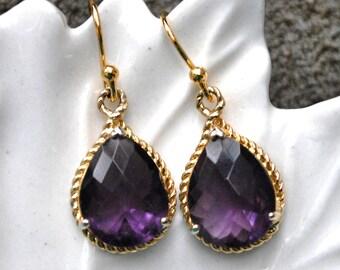 Bridesmaid Purple amethyst Earrings Gold Briolette Framed Glass