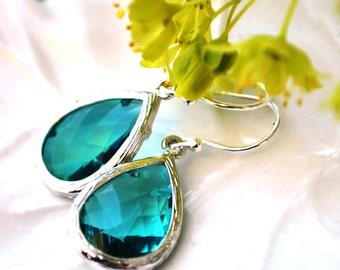 Blue Earrings Sea ocean blue Aqua in Sterling Silver, Bridesmaids gifts, bridal jewelry Dangle