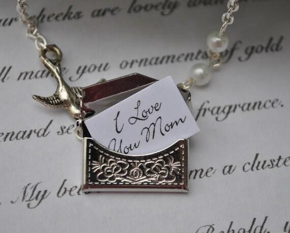 Necklace secret message envelope silver