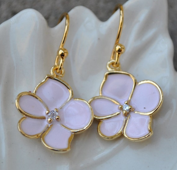 Earrings Pink sakura cherry blossom gold 14k
