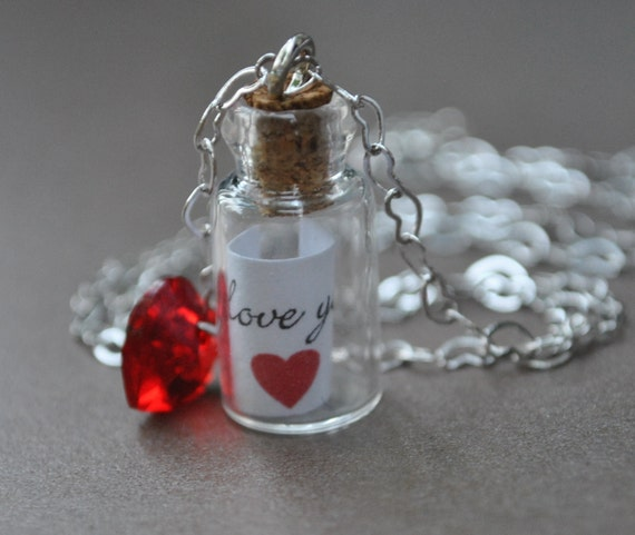Message in a bottle Necklace secret message silver I Love You Mom Perfect Gift