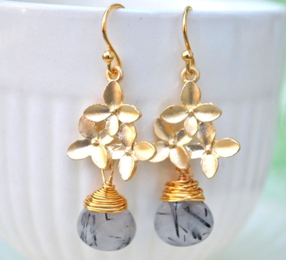 Tourmalinated Quartz Earrings gold cherry blossom teardrop wire wrapped
