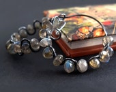 Jewelry tutorial Ruffled Gemstone Hoops earrings DIY earrings tutorial beaded hoop earring patterns wire wrap jewelry tutorial PDF rusteam