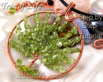 Tree of Life pendant jewelry tutorial - step by step coiled woven beaded wire wrapped wirework lesson - DIY instruction digital download pdf