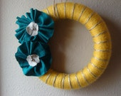 Retro pinstriped mustard/dark teal mini wreath