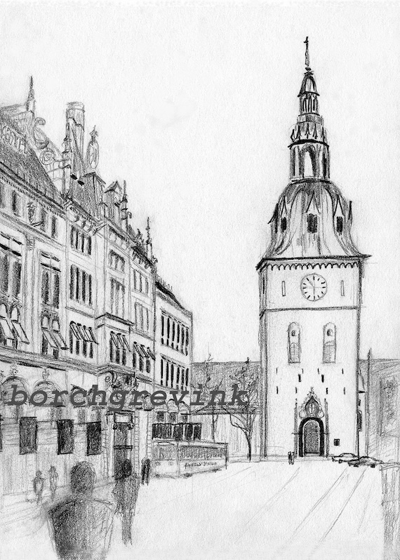 oslo cathedral oslo domkirke oslo norway pencil sketch