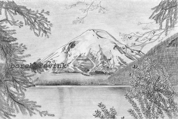 "Mount St. Helens and Spirit Lake, Southwest Washington State - pencil sketch, 12"" x 16"" matted"