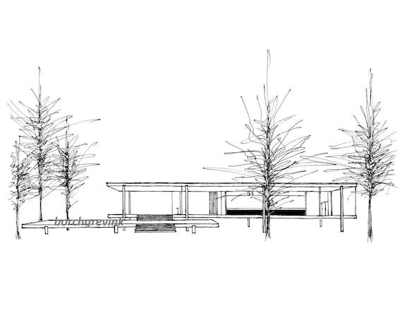 La casa farnsworth plano illinois schizzo di inchiostro for Schizzo di piani di casa gratuiti