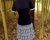 vintage houndstooth dress - 1960s Bleeker Street navy/white drop waist dress