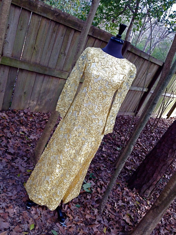 vintage 50s long dress - gold lame evening gown formal dress