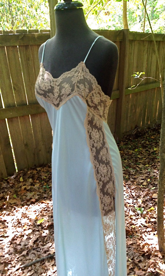 vintage lingerie - lacy bluish-grey long silky nightgown