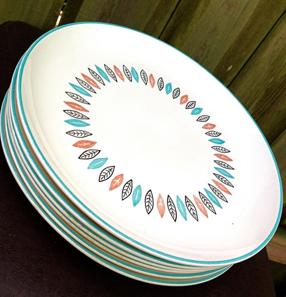 vintage mid century plates - 1950s teal/coral leaf pattern set of 6