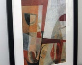 Restraint- ORIGINAL mixed media artwork on paper in  burgundy, black, orange, and white
