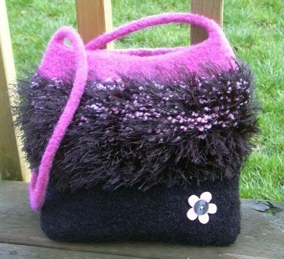 Clearance - Pink and Black Felted Purse