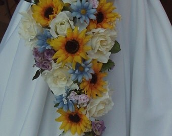 Sunflower Wedding Bouquet Set, Sunflower Country Wedding Flowers