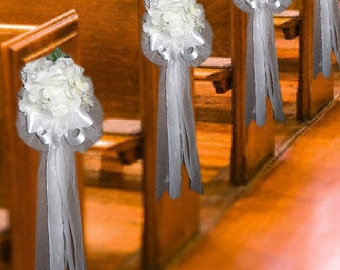 White Silk Hydrangea Pew Bows Set of 6