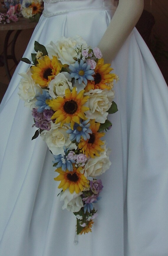 country wedding flowers items similar to artificial sunflower wedding bouquet set 3130