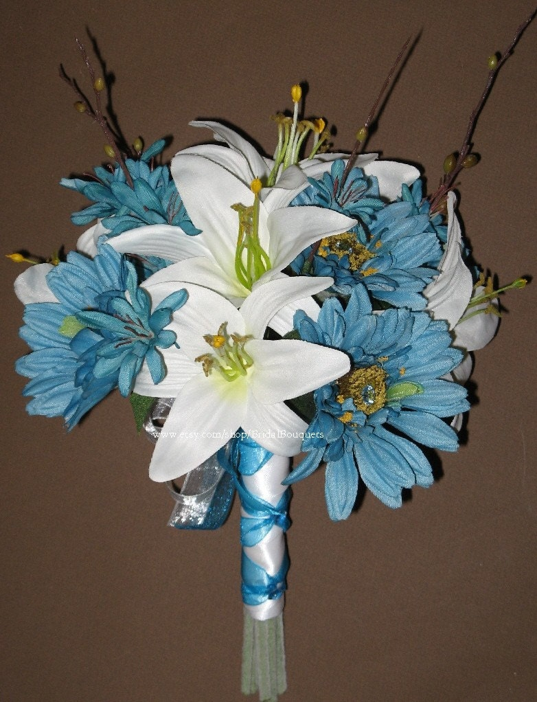 turquoise wedding bouquet set for mindy. Black Bedroom Furniture Sets. Home Design Ideas