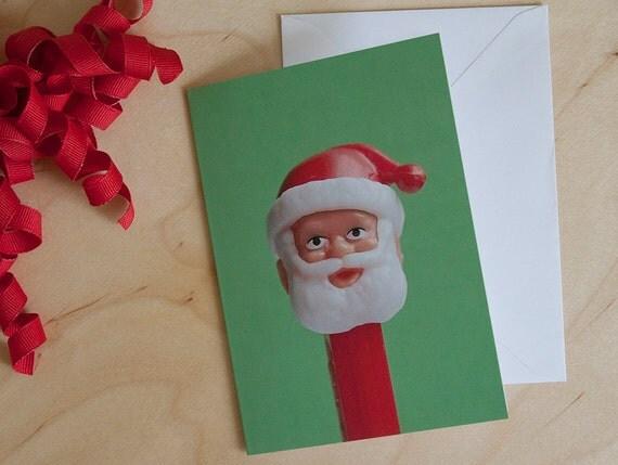 Set of 5 Pez Santa Christmas Cards