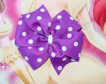 Large Pinwheel Purple with White Polka Dots Hair Bow Hair Clip
