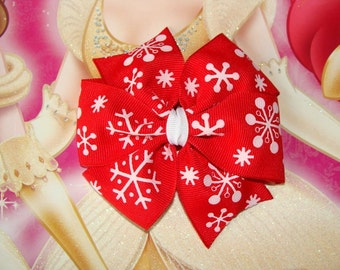 Snowflakes Large Pinwheel Hair Bow