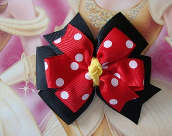 ONE Large Minnie Mouse hair bow Red and Black with White Polka Dots Double Leyered Pinwheel Hair Bow