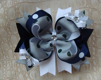 School Hair Bow Large Boutique Hair Bow Navy and gray hair bow