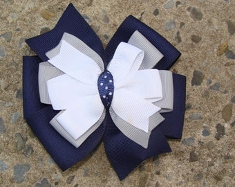 School uniform Hair Bows Navy Hair Bows Navy White and Grey Hair Bows
