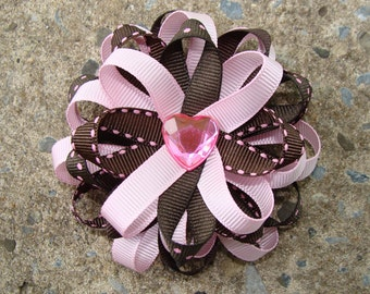 PInk and Brown Hair Bow Loopy Hair Bow