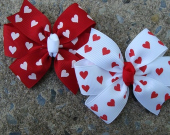 Valentine Hair Bows White and Red Hair Bows Set