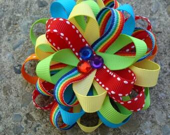 Rainbow Hair Bow Loopy Flower Hair Bow