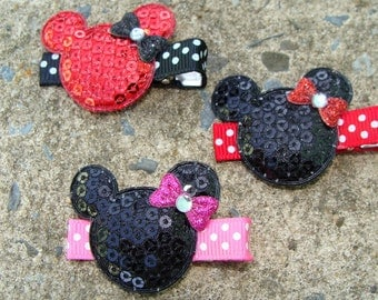 3 Minnie Mouse Hair Clips small Hair Clips