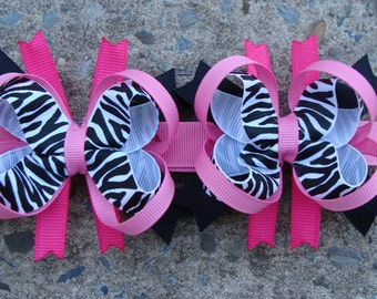 Zebra Print Boutique Hair Bows - Mini Boutique Hair Bow Set - Pigtail Hair Bow Set of 2