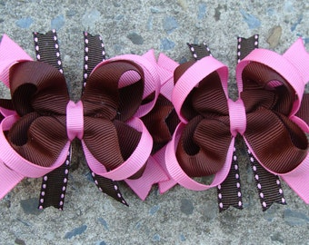 Pink and Brown Hair Bow Boutique Hair Bows - Mini Boutique Hair Bow Set - Pigtail Hair Bow Set of 2 MTM