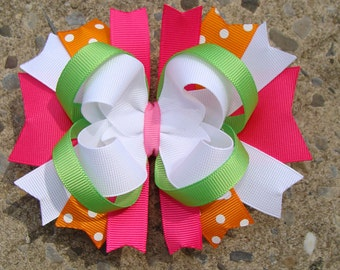 Pink Orange Green and White Large Boutique Stacked Hair Bows Hair Clip