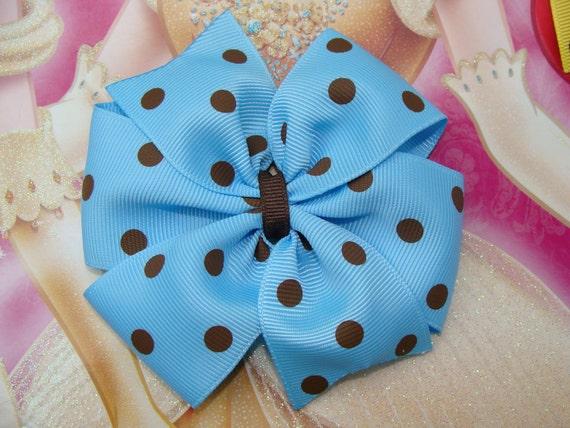 Blue with Brown Dots Large Pinwheel Hair Bow Hair Clip