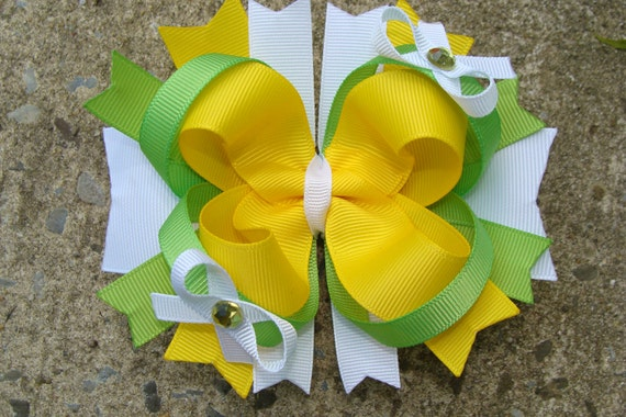 Yellow Green and White Large Boutique Stacked Hair Bow Hair Clip