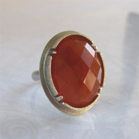 Handcrafted Orange Red Carnelian Cocktail Ring, All Sizes
