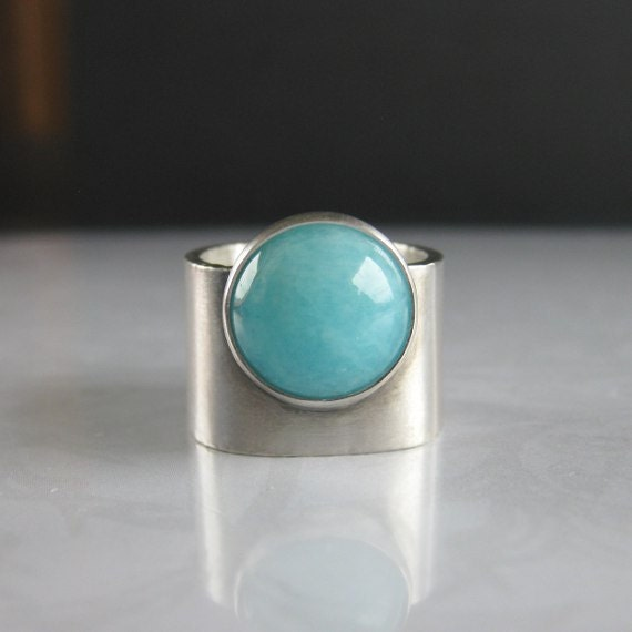 RESERVED for gobruins2016 - Turquoise Blue Amazonite Wide Band Silver Ring