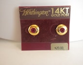 Vintage Worthington Gold Tone Red Rhinestone Post Earrings FREE shipping