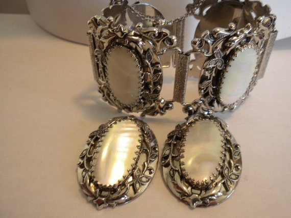 Vintage Whiting and Davis Co. Abalone Pearl Silver Demi Parure FREE shipping
