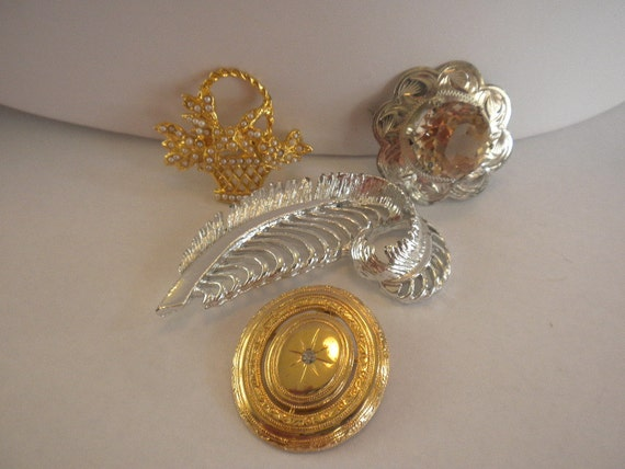 RESERVED...Vintage lot of 4 gold silver pins brooches FREE shipping in US