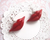 Ruby Red Lips Earrings - mouth -