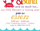 PRINTABLE PARTY INVITATION - Crab Birthday or Baby Shower Invite - Fresh Chick Designs