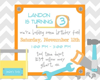 HANDYMAN TOOL TIME Printable Digital Birthday Invite by Petite Party Studio